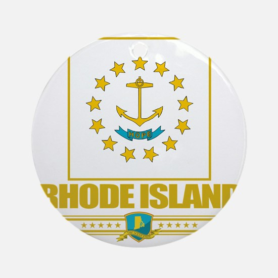 Rhode Island (Flag 10) Round Ornament