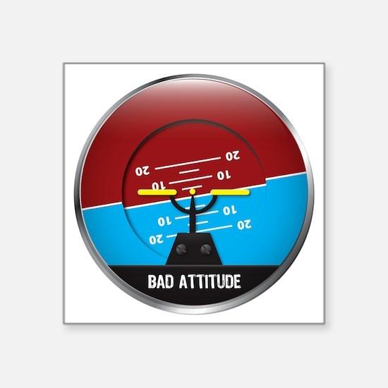 "BadAttitude_circle Square Sticker 3"" x 3"""