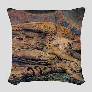 Elohim Creating Adam Woven Throw Pillow