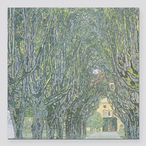 """Avenue of Trees Square Car Magnet 3"""" x 3"""""""