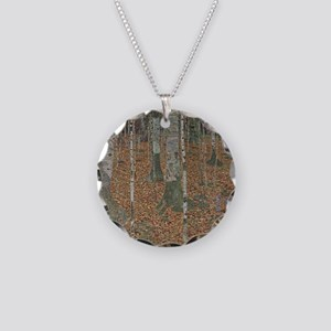 Birch Forest Necklace Circle Charm