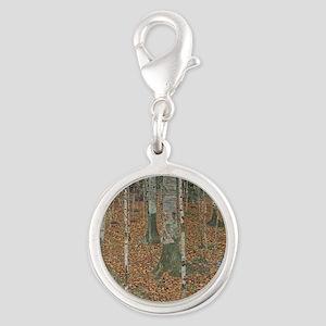 Birch Forest Silver Round Charm