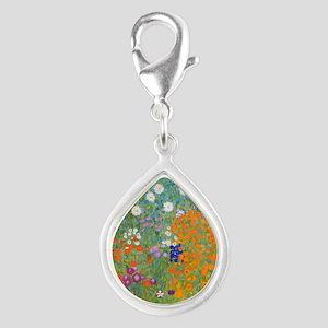 Flower Garden Silver Teardrop Charm