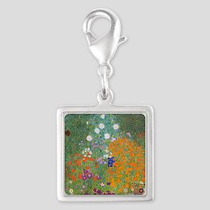 Flower Garden Silver Square Charm
