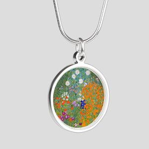 Flower Garden Silver Round Necklace