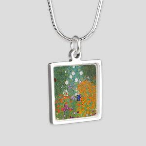 Flower Garden Silver Square Necklace