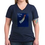 Falling Star Women's V-Neck Dark T-Shirt