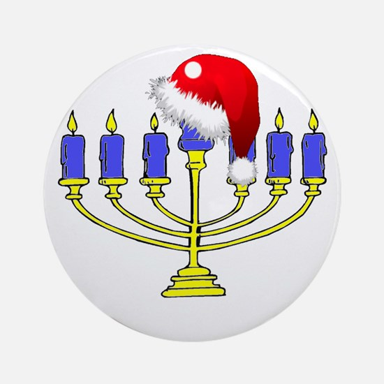 Christmas Menorah Round Ornament