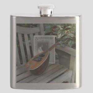 Mandolin / Mandola on Park Bench Flask