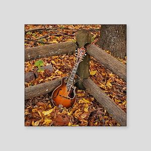 "Mandolin / Mandola on Fence Square Sticker 3"" x 3"""