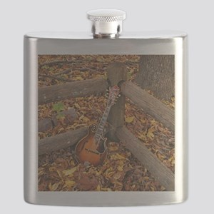 Mandolin / Mandola on Fence in Fall Leaves Flask