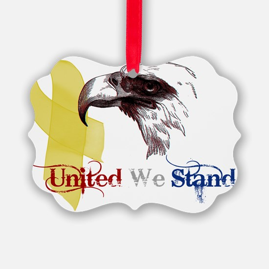 united we stand 3d eagle banner Ornament