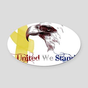 united we stand 3d eagle banner Oval Car Magnet