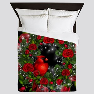 SPARKLING CARDINAL WREATH Queen Duvet
