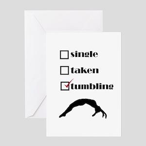 Single Taken Tumbling Gymnastics Greeting Cards