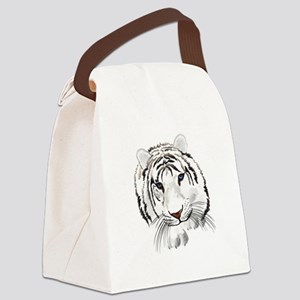 White Bengal Tiger Canvas Lunch Bag