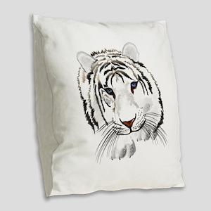 White Bengal Tiger Burlap Throw Pillow