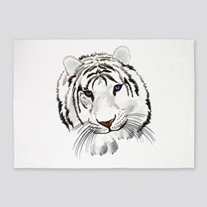 White Bengal Tiger 5'x7'Area Rug