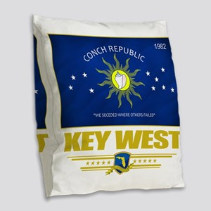 Key West (Flag 10) Burlap Throw Pillow