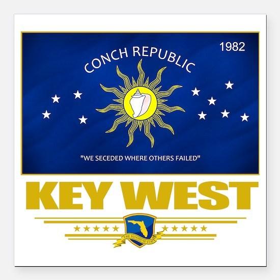 "Key West (Flag 10) Square Car Magnet 3"" x 3"""