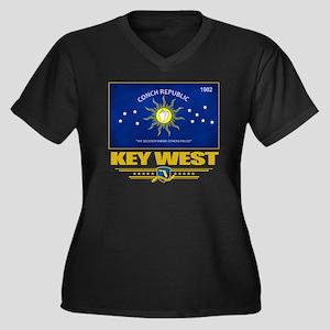 Key West (Fl Women's Plus Size Dark V-Neck T-Shirt