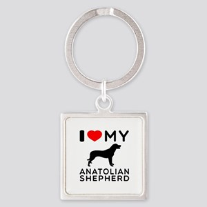 I love My Wire Fox Terrier Square Keychain