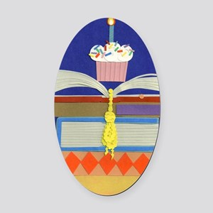 moms birthday library 020711 2 Oval Car Magnet