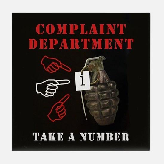 Humorous Complaint Department Art Tile Coaster