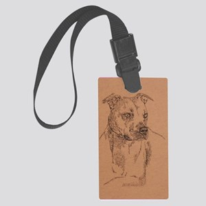 Pit_Bull_Terrier_KlineSq Large Luggage Tag