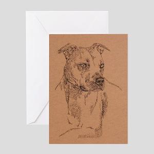 Pit_Bull_Terrier_KlineSq Greeting Card
