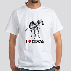 I Love Zebras White T-Shirt