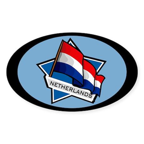 """Netherlands Star Flag"" Oval Sticker"