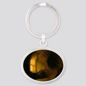 Philosopher in Meditation Oval Keychain
