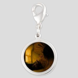 Philosopher in Meditation Silver Round Charm