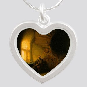 Philosopher in Meditation Silver Heart Necklace