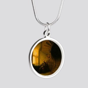 Philosopher in Meditation Silver Round Necklace