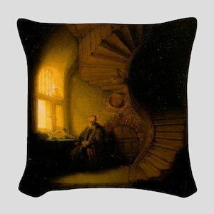 Philosopher in Meditation Woven Throw Pillow