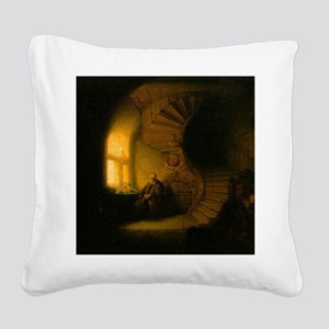 Philosopher in Meditation Square Canvas Pillow