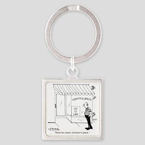 5285_coach_cartoon Square Keychain