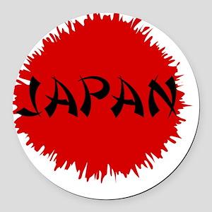 Japan Flag Splatter Round Car Magnet