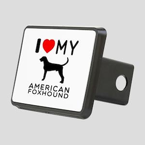 I Love My American Foxhound Rectangular Hitch Cove