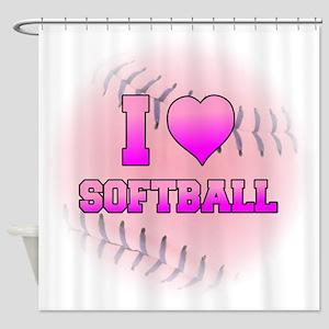 I Heart Softball Shower Curtain