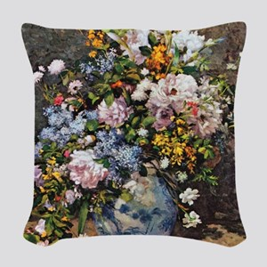 Bouquet of Spring Flowers Woven Throw Pillow