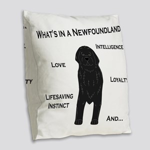 Whats in a Newf - Black Burlap Throw Pillow