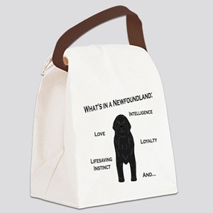 Whats in a Newf - Black Canvas Lunch Bag