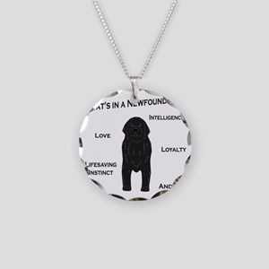 Whats in a Newf - Black Necklace Circle Charm