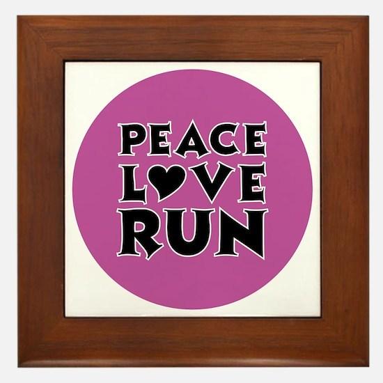 peace love run Framed Tile