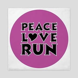 peace love run Queen Duvet