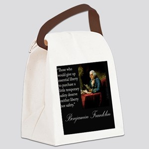 benjamin-franklin-quote-portrait Canvas Lunch Bag