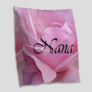 Nana Pink Rose Burlap Throw Pillow